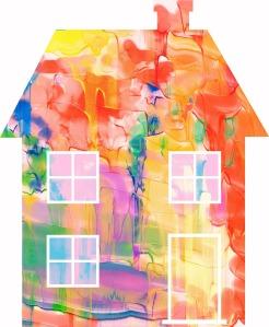 värikäs vesivärimaalaus tyyllitellystä talosta.