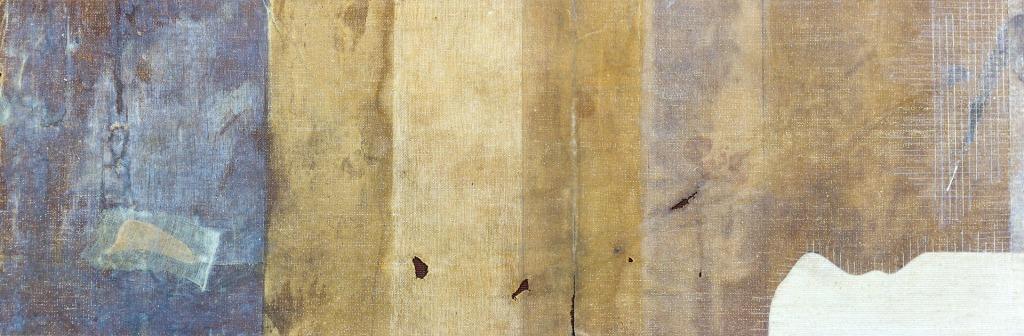 Abstrakti kuva, jossa eri ruskean sävyjä pystyraidoittain. Kaikkein vasemmanpuoleisin raita on sininen.